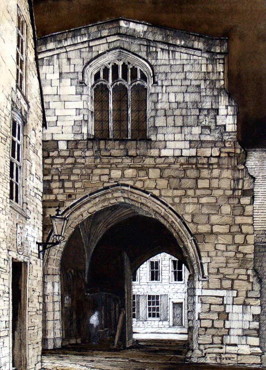 The ancient medieval arched entrance to the College an area behind the Cathedral which is the home of the clergy and the Chorister School. Part of the 2014 Durham Cathedral Exhibition.