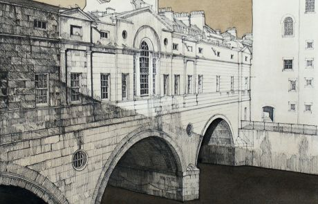 Crossing the river Avon, Pulteney bridge designed by Robert Adam was completed in 1773. It is one of only four bridges in the world having shops across the full span on either side of the bridge thoroughfare.