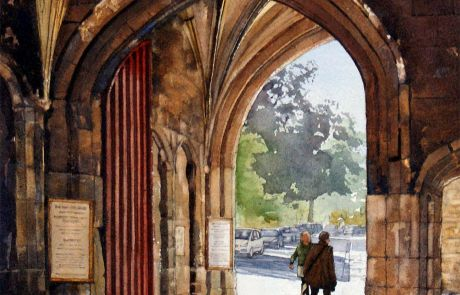 The ancient medieval arched entrance to The College, an area on the south side of the Cathedral which is the home of the Cathedral clergy and the Chorister School.